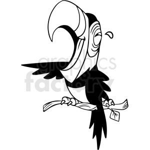 black and white laughing parrot vector clipart clipart. Royalty-free image # 413115