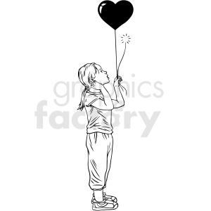 black and white girl holding heart balloon vector clipart clipart. Commercial use image # 413129