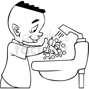 black and white african american cartoon boy washing his hands vector clipart clipart. Royalty-free image # 413139