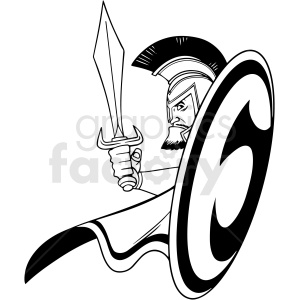 black and white cartoon trojan vector clipart clipart. Royalty-free image # 413150