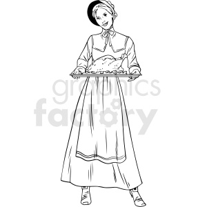 black and white realistic female pilgrim holding dinner tray vector clipart clipart. Royalty-free image # 413165