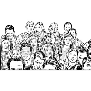 black and white crowd of people game vector clipart clipart. Royalty-free image # 413170