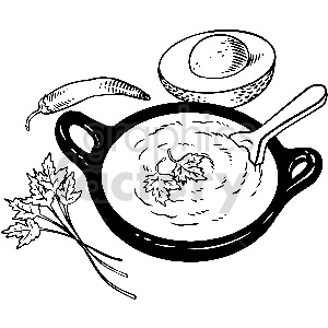 black and white soup dinner vector clipart clipart. Commercial use image # 413307