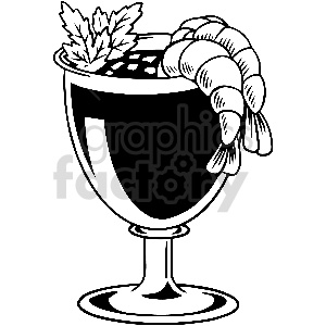 black and white shrimp cocktail vector clipart clipart. Commercial use image # 413309