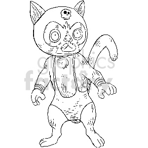 black and white lucha cat wrestler vector clipart clipart. Royalty-free image # 413389