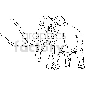 black and white elephant vector clipart clipart. Commercial use image # 413403