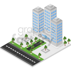 isometric city block with office building vector clipart clipart. Commercial use image # 413482