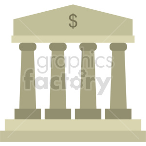 bank building pillars vector clipart