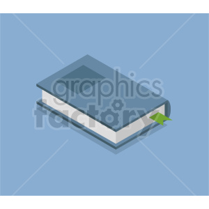 isometric blue book vector icon clipart 1