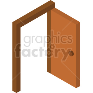 isometric door vector icon clipart 3