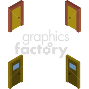 isometric door vector icon clipart 2 clipart. Commercial use image # 413990