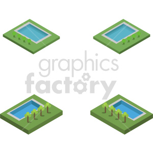 isometric land park vector icon clipart 1