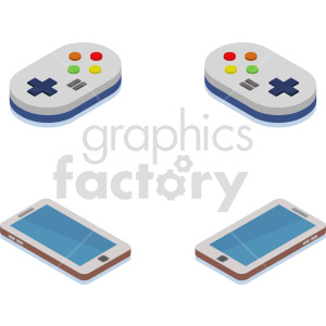 smart device with game pads isometric vector icons clipart bundle clipart. Commercial use image # 414123