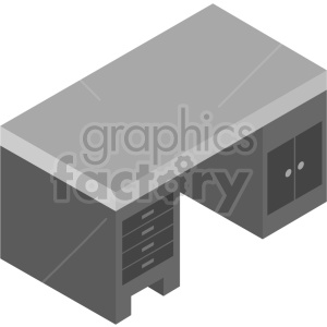 isometric office desk bundle vector icon clipart 2