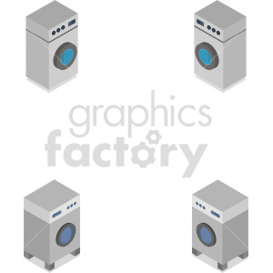 isometric washing machine vector icon clipart 1