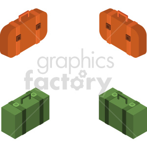 isometric travel bag vector icon clipart 1