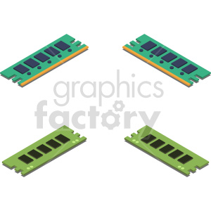 isometric ram memory sticks vector icon clipart bundle clipart. Commercial use image # 414561