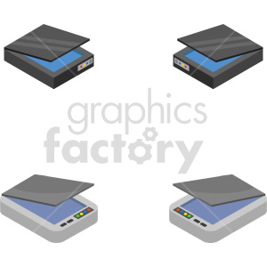 isometric scanner vector icon clipart bundle