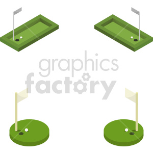 isometric golf course vector icon clipart 1