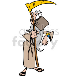 2020 father time wearing mask checking his watch vector clipart clipart. Commercial use image # 414663