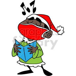 Christmas black kid caroling wearing mask vector clipart