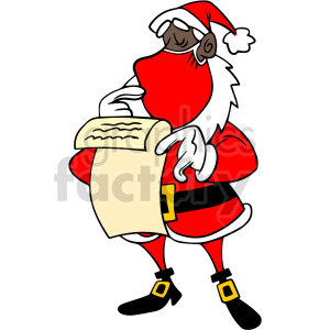 black Santa checking the naughty list vector clipart clipart. Commercial use image # 414683