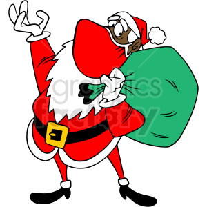 black Santa wearing mask holding large bag vector clipart clipart. Royalty-free image # 414687