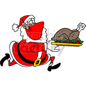 Santa wearing mask running holding dinner plate vector clipart clipart. Commercial use image # 414698