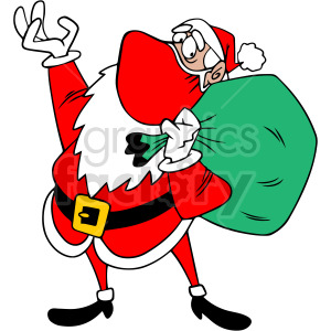 Santa wearing mask holding large bag vector clipart clipart. Commercial use image # 414704