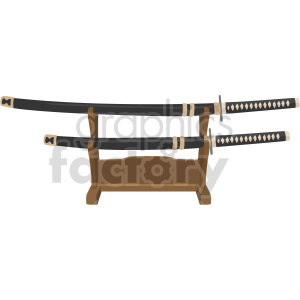 katanas on display stand vector graphic clipart. Commercial use image # 414829
