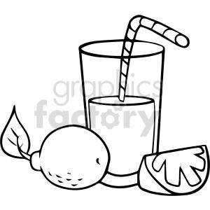 fruit cartoon lemonaide glass drink black+white