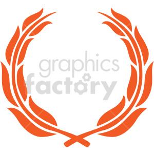 clipart - orange laurel wreath design vector clipart.