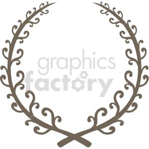 clipart - iron laurel wreath design vector clipart.