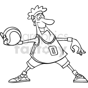 cartoon basketball player passing clipart black and white clipart. Commercial use image # 415078
