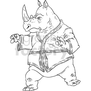 martial arts rhino vector graphic clipart. Commercial use image # 415140