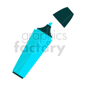 blue highlighter marker vector clipart clipart. Commercial use image # 415575