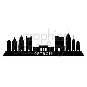 clipart - Detroit city skyline vector.