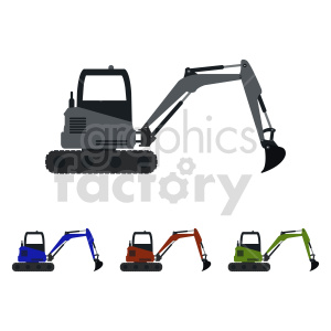 excavator bundle vector graphic clipart. Commercial use image # 416027