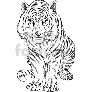clipart - black and white tiger vector clipart.