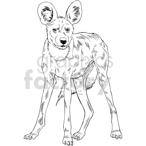 clipart - black and white hyena vector clipart.