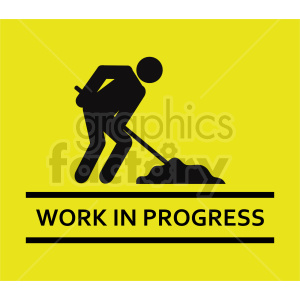 work in progress street sign vector graphic clipart. Commercial use image # 416340