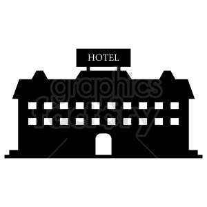 black and white hotel vector clipart clipart. Commercial use image # 416483