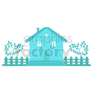 blue house with picket fence vector clipart clipart. Commercial use image # 416489