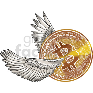 bitcoin with wings vector clipart clipart. Commercial use image # 416677