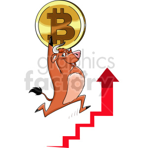 cartoon bull carrying bitcoin vector clipart clipart. Commercial use image # 416679