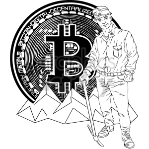 black and white bitcoin miner vector clipart clipart. Commercial use image # 416682
