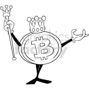 black and white cartoon bitcoin king vector clipart clipart. Commercial use image # 416684