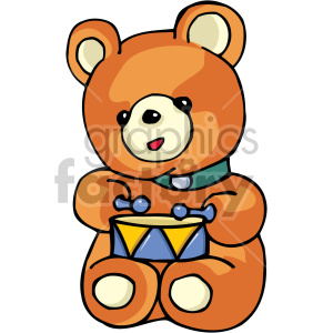Teddy bear playing the drums clipart. Commercial use image # 159132