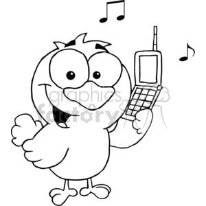 black and white calling bird clipart. Royalty-free image # 377863