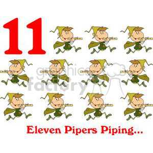 On the 11th day of Christmas my true love gave to me Eleven Pipers Piping clipart. Royalty-free image # 377868